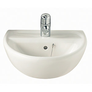 Twyford Sa4211Wh Sola Basin 500mm 1 Tap Hole White