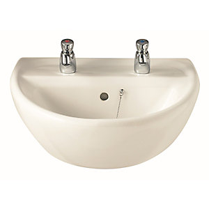 Twyford Sa4212Wh Sola 2 Tap Hole 500mm Basin White