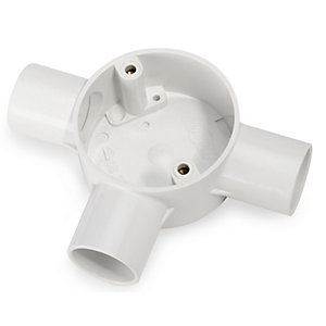Univolt 20mm 3 Way White PVC Tee Box