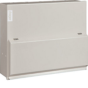 Hager VML733H Design 10 Metal Consumer Unit 6 Way Split Load 3+3 100A Switch 2*63A 30mA RCCB