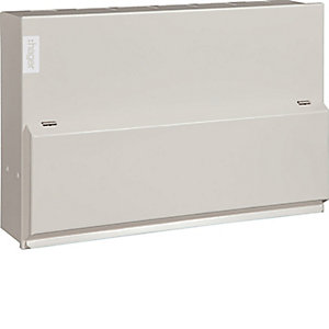 Hager VML755H Design 10 Metal Consumer Unit 10 Way Split Load 5+5 100A Switch 2*63A 30mA RCCB