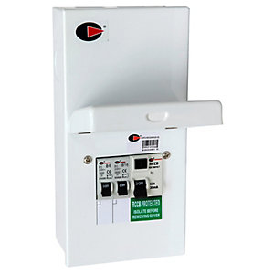 Lewden QFS-MCGARAGE-63 2 Way 63A RCD Garage Unit with 6A and 16A MCB