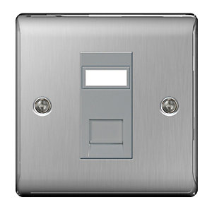 BG Brushed Steel 1 Gang RJ45 Data Outlet Socket with Idc Window NBSRJ451