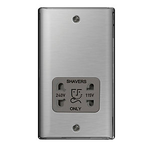 BG Brushed Steel 115/230V Shaver Socket - NBS20G
