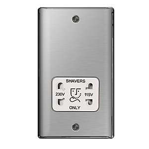 BG Brushed Steel 115/230V Shaver Socket - NBS20W