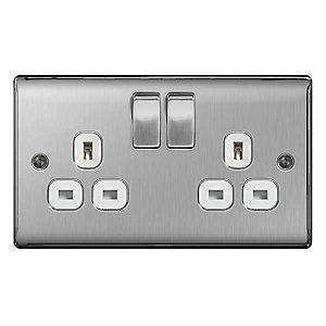 BG Brushed Steel 13A Double Socket - NBS22W