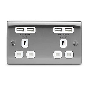 BG Brushed Steel 13A Double Socket + USB (4 Port 4.2A) - NBS24U44W