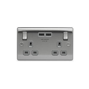 BG Brushed Steel 13A Double Socket with USB - NBS22U3G