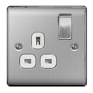 BG Brushed Steel 13A Single Socket - NBS21W
