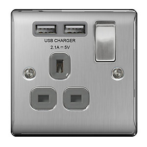 BG Brushed Steel 13A Single Socket + USB - NBS21U2G