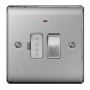 BG Brushed Steel 13A Switched Fuse Spur with Power Indicator and Flex Outlet - NBS53