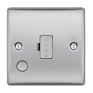 BG Brushed Steel 13A Unswitched Fused Spur with Flex Outlet - NBS55
