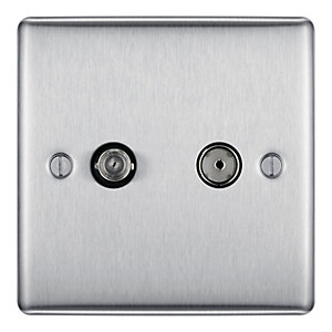 BG Brushed Steel 2 Gang Satellite and Co-axial Socket - NBS65