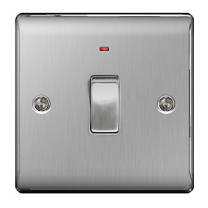 BG Brushed Steel 20A Double Pole Switch with Power Indicator - NBS31