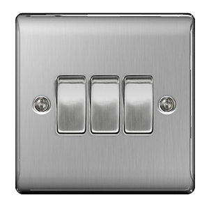 BG Brushed Steel 3 Gang 2 Way Light Switch - NBS43