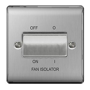 BG Brushed Steel 3 Pole Fan Isolator Switch - NBS15