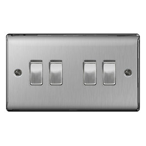 BG Brushed Steel 4 Gang 2 Way Light Switch - NBS44