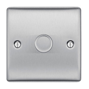 BG Brushed Steel 400W 1 Gang 2 Way Dimmer Switch - NBS81P