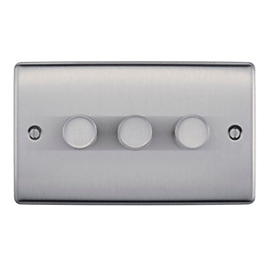BG Brushed Steel 400W 3 Gang 2 Way Push Dimmer - NBS83P