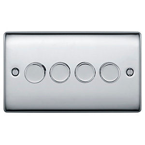 BG Brushed Steel 400W 4 Gang 2 Way Push Dimmer - NBS84P