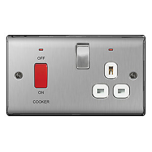 BG Brushed Steel 45A Cooker Connection Unit with Socket - NBS70W
