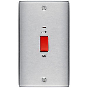 BG Brushed Steel 45A Double Pole Switch with Indicator Double Plate - NBS72