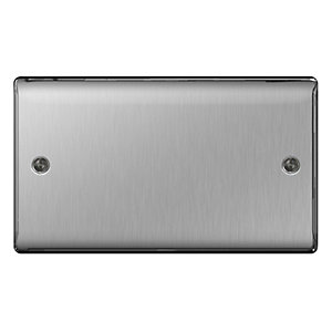 BG Brushed Steel Double Blank Plate - NBS95