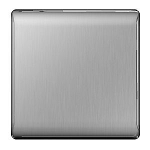 BG Brushed Steel Single Blank Plate - NBS94
