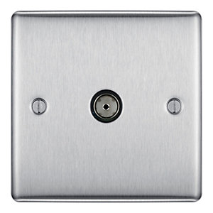 BG Brushed Steel Single Coaxial Socket - NBS60