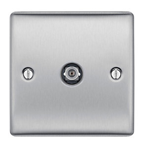 BG Brushed Steel Single Satellite Socket - NBS64