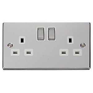 Polished Chrome 13A 2 Gang Double Socket - VPCH536WH