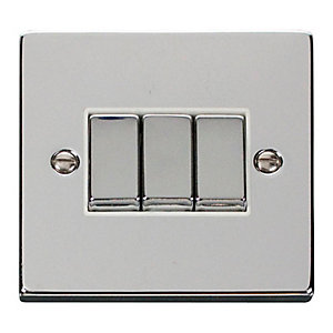 Polished Chrome 3 Gang 2 Way Light Switch - VPCH413WH