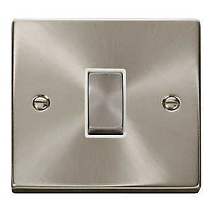 Satin Chrome 1 Gang 2 Way Light Switch - VPSC411WH