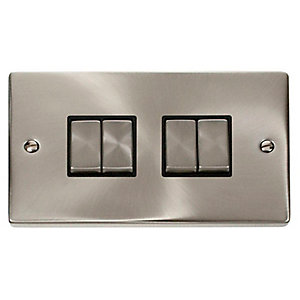 Satin Chrome 4 Gang 2 Way Light Switch - VPSC414BK