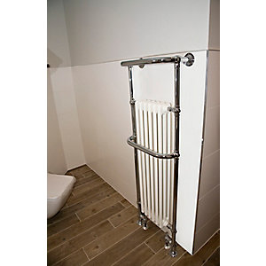 Towelrads Hampshire Chrome and White Towel Rail 960mm x 510mm