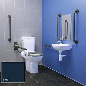 Contour 21+ Doc M Blue Close Coupled Right Hand Pack with Additional Standing Washbasin
