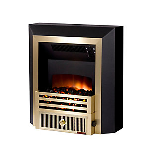 Smith's Hydroflame Freestanding Dual Flame Effect Fan Convector Elite Brass Trim