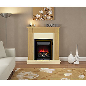 "Be Modern Darras Eco 42"" Electric Suite - Natural Oak Surround with Black Back Panel & Hearth"