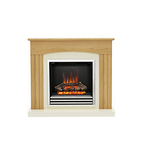 "Be Modern Linmere 44"" Electric Fire Suite - Natural Oak and Almond Stone"