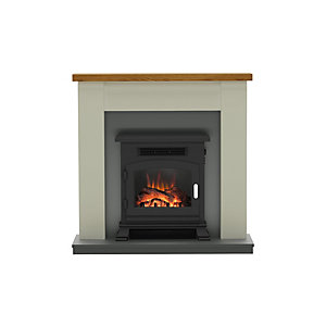 "Be Modern Ravensdale 42"" Electric Fire Suite - Stone and Anthracite Finish"