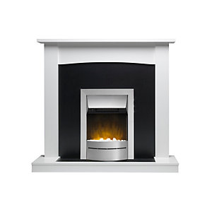 "Valor Teviot Ecolite Electric Suite 15"" Hearth - White"