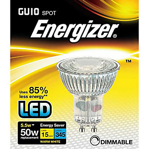 Energizer 350LM 5.5W Warm White Full Glass GU10 Dimmable LED Lamp