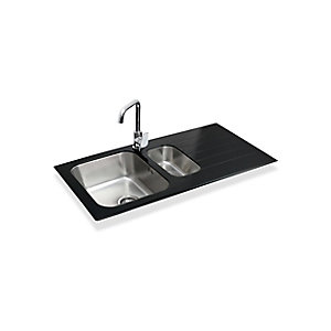 Bristan Gallery Glacier Easyfit Sink 1.5 Bowl Black Glass Left Drainer