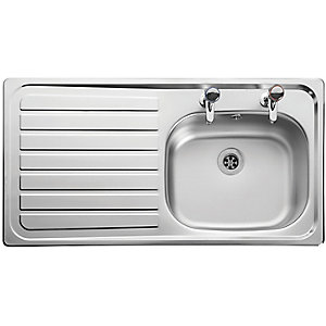 Leisure Lexin 2 Tap Hole 1 Bowl Left Hand Inset Stainless Steel Kitchen Sinks LN95L