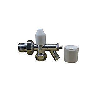 Plumbright 15MM Single Angled Draw Off Radiator Valve (3/4 Nut) - Comes with White Plastic Wheelhead & Lockshield Caps