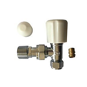 Plumbright 8 / 10 mm White Angled Rad Valve with Lockshield & Reducer