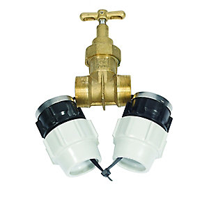 Plasson Below Ground Water Compression Stopcock DZR Brass 63mm - 9048A63