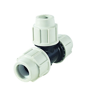 Plasson Reducing Tee Compression Connector 32mm x 25mm x 32mm - 7340EDE