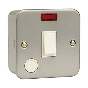Metal Clad 10A Switch with Neon & Optional Flex Outlet - CL023
