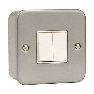 Metal Clad 2 Gang 2 Way Light Switch - CL012